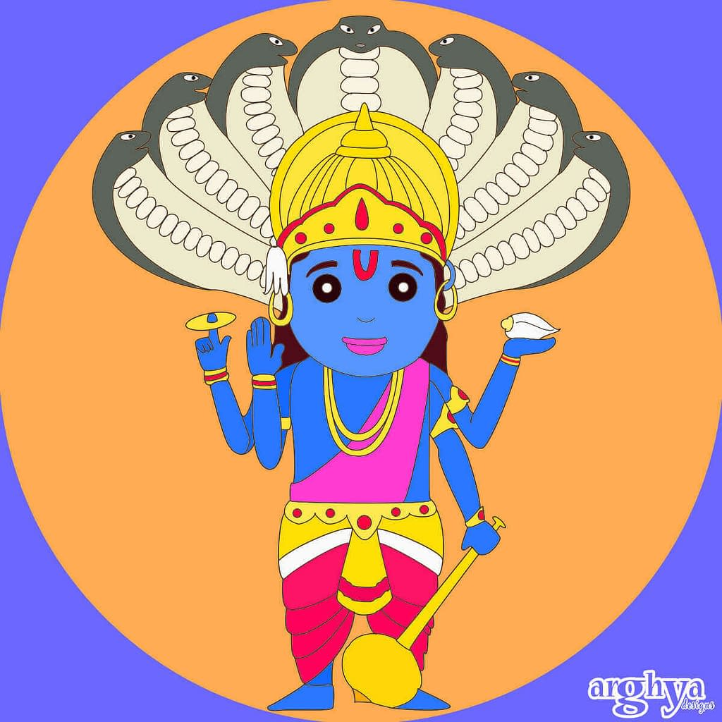 Lord Vishnu illustration by arghya gorai